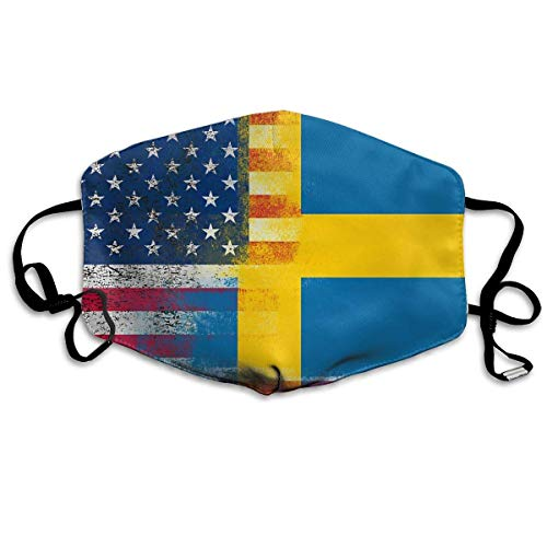 WBinHua Masken für Erwachsene, Mask Face, Mouth Mask, Breathable Mask Anti Dust, Unisex Sweden America Flag Printed Cotton Mouth-Masks Face Mask Polyester Anti-dust Masks