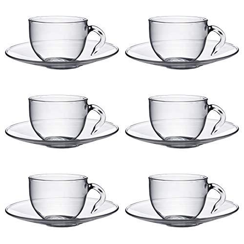 Argon Tableware Klare Glas Espresso-Tasse mit Untertasse - 60ml - 6 Paar