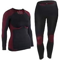 ALPIDEX Ropa Interior para esquí, térmica y Funcional para Mujer - Transpirable, cálida y de Secado rápido - Tamaño S/M, Negro Rojo