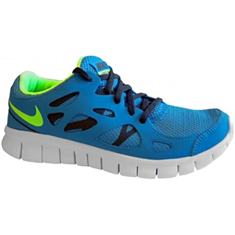Nike Free Run 2.0 Gs Niños (434) Blue/lime, 36 EU