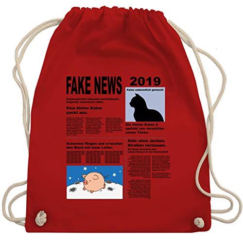 Karneval & Fasching - Fake News 2019 Kostüm Newspaper Zeitung - Unisize - Rot - WM110 - Turnbeutel & Gym Bag (Zeitung Kostüm)