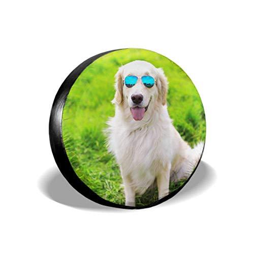Yushg Golden Retriever Occhiali da Sole per Cani Seduto su Copertura per Pneumatici per Auto Ragazza Copertura per Pneumatici Copertura per Pneumatici Impermeabile UV Sole 14'- 17' Adatto per JEE
