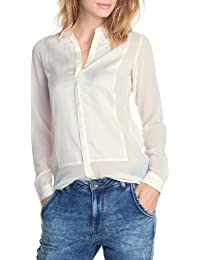 ESPRIT Collection Damen Bluse 073EO1F009, Stehkragen