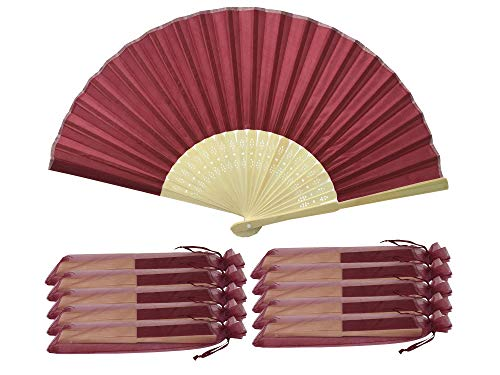 Rouge Foncé/Bordeaux-Lot 10 Commerce de gros en soie élégant Éventail en bambou cadeau mariage faveur de la cage thoracique SHF06