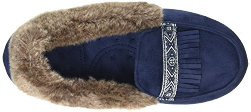 Isotoner - Pillowstep Moccasin With Fur Cuff And Tape Trim, Pantofole Donna Blu (Blu (Navy))