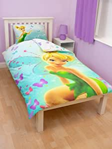parure de lit housse de couette disney fairies fee clochette enfant fille 1 personne. Black Bedroom Furniture Sets. Home Design Ideas