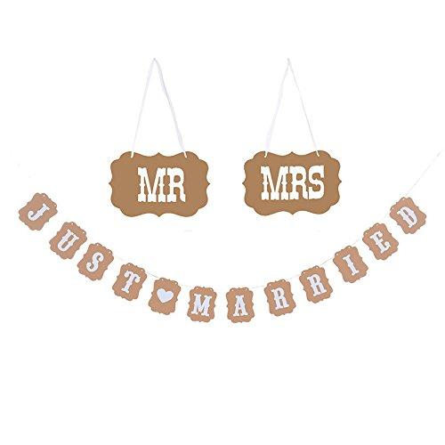 G2PLUS 3M Vintage Hochzeit Bunting Garland mit 12Stk Wimpel, 2PCS Hanging Garlands Props, MR MRS & JUST MARRIED Hochzeits-Wimpelkette Dekorationen für rustikale Hochzeit