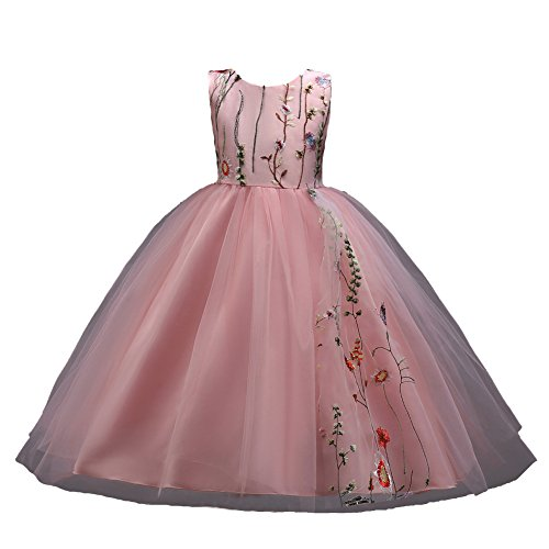 Kids Big Girls Bridesmaid Tulle Lace Dress School Girls Elegant Communion Ball Gown Dance Pageant Birthday Christmas Party Prom Evening Wedding Flower Dress Sleeveless Floor Length 4-14 Years