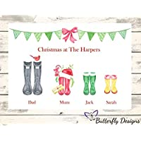 Personalised Watercolour Christmas Family Wellington Boots A4 PRINT (NO FRAME) Picture Design 1