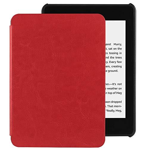 EasyAcc Hülle für Kindle Paperwhite 2018 10. Generation, Ultra Dünn Smartshell Case mit Auto Sleep/Wake up Funktion Kompatibel für Modelle der Kindle Paperwhite (10. Generation – 2018) - Rot