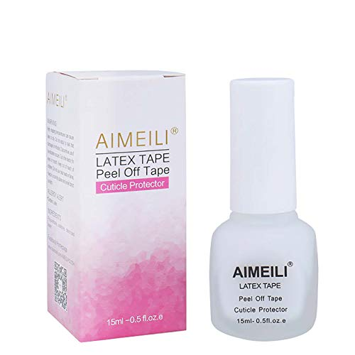 AIMEILI Liquid Latex Peel off Liquid Tape Hautschutz Fingerschutz für Nail Art Liquid Palisade Geruchlos Weiß 15ml -