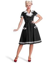Hell Bunny - vestido rockabilly de marinera - años 50 - estilo pin up - rock and roll - largo hasta la rodilla - negro - L