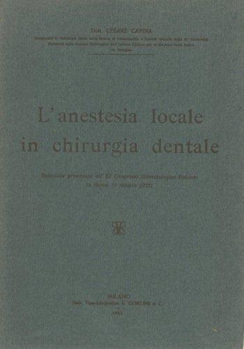 Anestesia locale in chirurgia dentale.