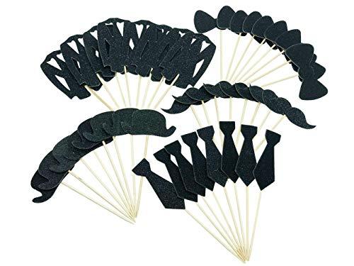 KWJOY 40 Stück Cupcake-Dekorationen mit Fliege, Krawatte, Hut, Schnurrbart-Anzug (schwarz)