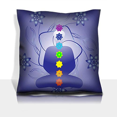 ZMYGH Throw Pillowcase Cotton Satin Comfortable Decorative Soft Pillow Covers Protector Sofa 18x18 1 Pack Illustration of a Silhouette with chackras Each Element on Separate Layers for e