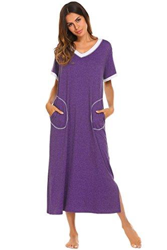 Damen Nachthemd Baumwolle still pyjama lang weich frauen schlafkleid V-Ausschnitt Nachtkleid sommer, Gr.-38,6619_Lila