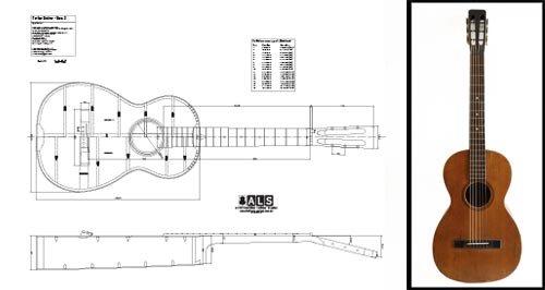 Plan of a Vintage martin-style Parlor (Parlour) Akustische Gitarre–Full-Scale - Akustische Schwarz Martin Gitarre