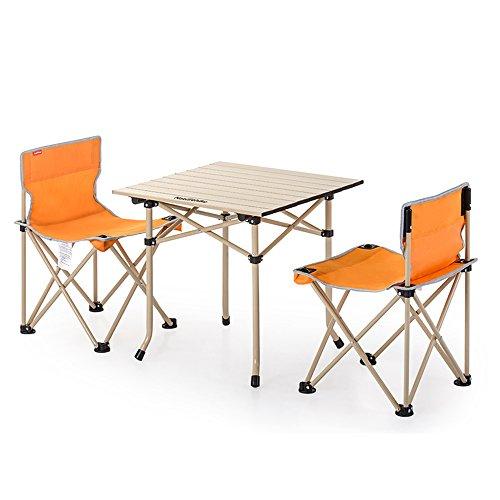 LJHA Klapptische und Stühle Ultralight Portable Angeln Stuhl Outdoor Rückenlehne Tische Und Stühle 3 Sätze / 5 Sätze 2 Farbe Optional Tabelle (Farbe : Orange, größe : 3#)