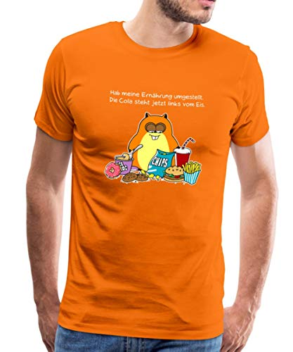 Spreadshirt Hamster Ernährungsumstellung Lustiger Spruch Männer Premium T-Shirt, XXL, Orange -