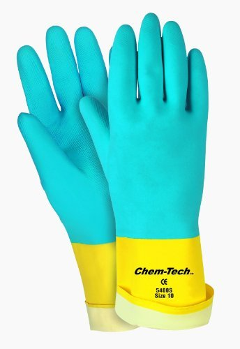 MCR Safety 5400S 10-1/2-Inch Chem-Tech Seamless Nitrile Rubber Gloves with  Straight Cuff and Flocked Lining, Blue/Yellow, X-Large, 1-Pair by MCR