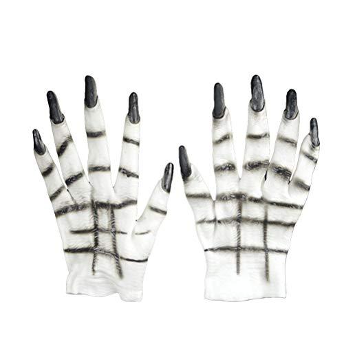 BESTOYARD Halloween Horror Wolf Klauen-Handschuhe Tiere Cosplay Kostüme Party Dressing Requisite Lustige Werwolf Ghostcrawler Handschuhe (weiß)