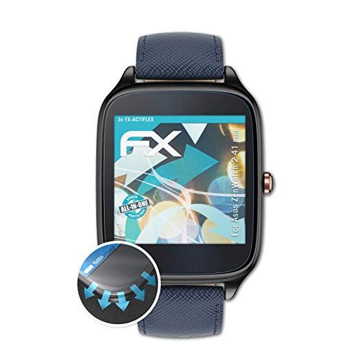 atFoliX Schutzfolie passend für Asus ZenWatch 2 41 mm Folie, ultraklare & Flexible FX Bildschirmschutzfolie (3X)