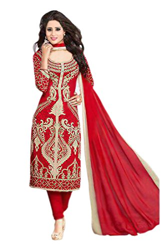 Queen of India Women's Cotton Printed Salwar Suit Dress Material - QUEEN_DRI_01_Red_Free...