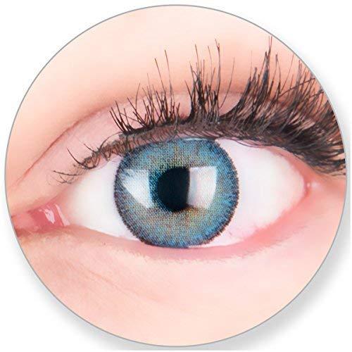 Glamlens Kontaktlinsen farbig blau ohne und mit Stärke - mit Kontaktlinsenbehälter. Sehr stark deckende natürliche blaue farbige Monatslinsen Himmelblau 1 Paar weich Silikon Hydrogel -1.5 Dioptrien