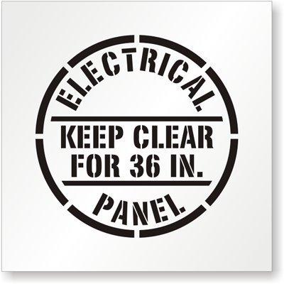 qidushop Art Wand Deko Schilder Polyethylen Wiederverwendbar Schablone Elektrische Panel Keep Clear für 36, Schwarz auf weiß Metall Room Plaque Funny Aluminium Schild 30x 30cm (Schablonen Für Wand-plaques)