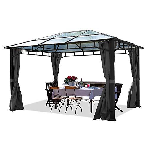 TOOLPORT Gartenpavillon 3x4m wasserdicht ALU Deluxe Polycarbonat Dach 8mm Pavillon 4 Seitenteile Partyzelt grau 9x9cm Profil