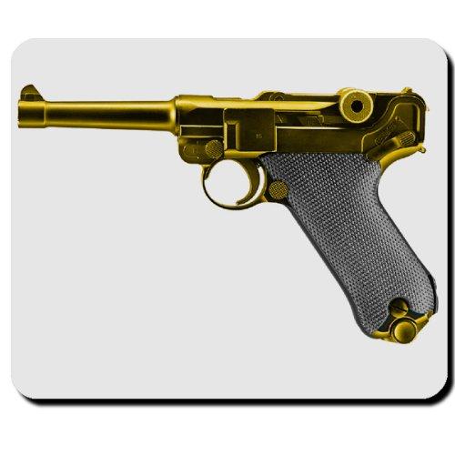 Preisvergleich Produktbild P08 Pistole Waffe gold Munition Parabellum Ordonnanzwaffe - Mauspad Mousepad Computer Laptop PC #5357