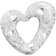 QUALATEX - Globo Corazón Relieve, Color Blanco, Talla 107 cm