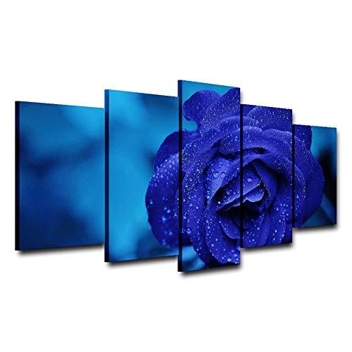 Agreey Poster Wohnkultur Wohnzimmer Modulare Bilder 5 Panel Edle Dark Blue Rose Rahmen Wand Kunstwerk Malerei HD Gedruckt Leinwand, Mit Rahmen, 30X40 30X60 30X80 cm