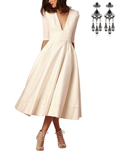 CARINACOCO Damen Elegante Kleider Tief V-Ausschnitt 1/2 Ärmel Einfarbig Plissee A-Linie Cocktailkleid Abendkleid Partykleid Weiß XXL