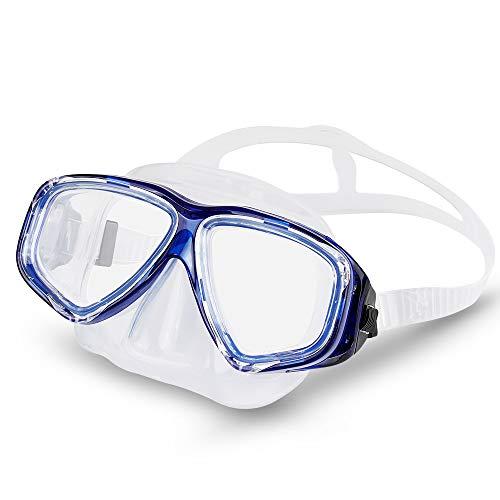 KOROSTRO Taucherbrille Kinder, Schnorchelbrille Schwimmbrille Kindertaucherbrillen Tauchmaske, Wasserdicht, Lecksicher, UV Schutz, Verstellbares Silikonband - Blau