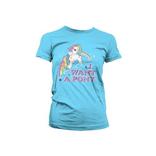Officially Licensed Merchandise MLP - I Want A Pony Girly Tee (Skyblue), XX-Large