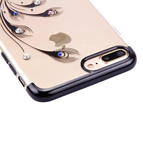 Paillette Coque pour iPhone 6/6S,iPhone 6S Coque Silicone Étui Ultra Mince Housse, iPhone 6 Souple Coque Etui en Silicone, iPhone 6/6S Silicone Case Soft TPU Cover, Ukayfe Etui de Protection Cas en ca Noir-plumes de paon
