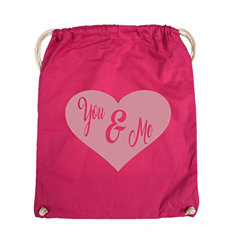 Comedy Bags - YOU & ME - HERZ NEGATIV - Turnbeutel - 37x46cm - Farbe: Schwarz / Silber Pink / Rosa