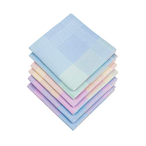 HOULIFE 6 Stücke Damen Bunt Taschentücher aus Reiner Baumwolle mit Spitzen 43x43cm 3 Muster für Alltagsgebrauch&Hochzeit