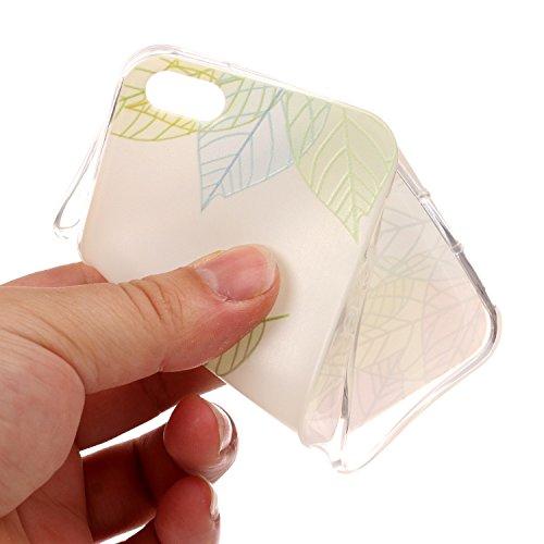 iPhone SE 5 5S Hülle, iPhone SE 5 5S Weiche flexible Silikon-Handy-Hülle ,Cozy Hut iPhone SE 5 5S Schutzhülle Case Silikon- Crystal Clear Ultra Dünn Durchsichtige Backcover Handyhülle TPU Case für iPh Baumblatt