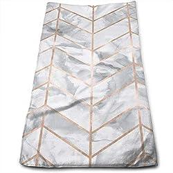 DAICHAI Marble Herringbone Rose Gold Gilt Design 100% Cotton Towels Ultra Soft & Absorbent Bathroom Towels - Great Shower Towels, Hotel Towels & Gym Towels
