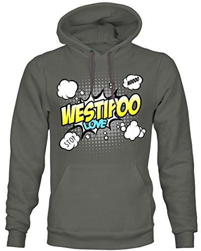 Unisex Hoodie Kapuzensweatshirt - WESTIPOO Designerhund Westi West Highland White Terrier Pudel Mix Hund - COMIC Cartoon Fun Siviwonder dark grey XL (West Terrier, Highland Pudel)