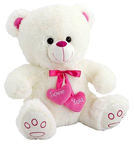 Peluche oso blanco con colgante dos corazones (38 cms) [Juguete]