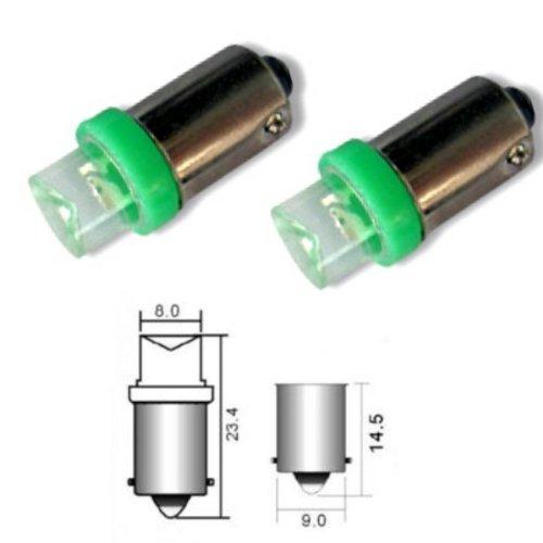 Akhan B9G LED Lampe Grün T4W BA9S 12V Metallsockel mit 1 LED (Inverted)