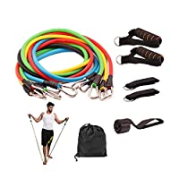 11 Pcs Resistance Fitness Band Set with Stackable Exercise Bands Legs Ankle Straps Multi-function Professional Fitness Equipment