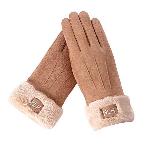 FeiBeauty Frauen feste Farbe Wildleder Buchstaben bestickt Label Temperament lange Stapel warme Handschuhe im Freien winddichte Schnee Handschuhe können den Bildschirm des Mobiltelefons berühren