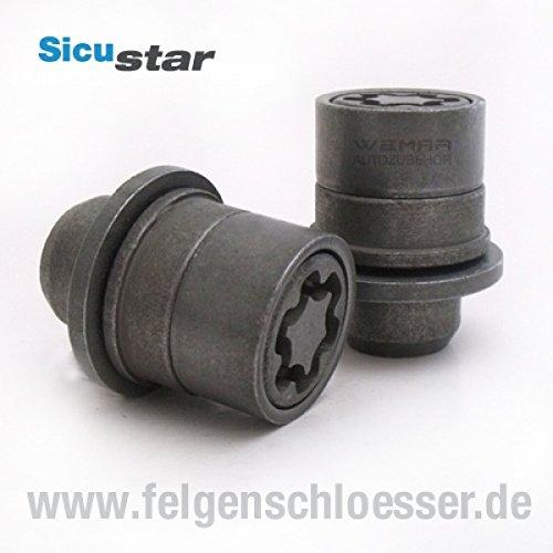 Sicustar Felgenschloss Mutter M12x1,5 - Flachbund - SW 21