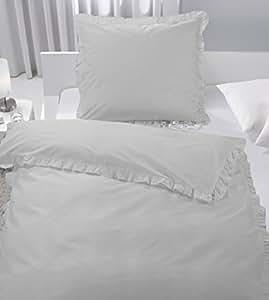 bettw sche set r schen romantik vintage wei taupe 135x200 cm baumwolle top taupe. Black Bedroom Furniture Sets. Home Design Ideas