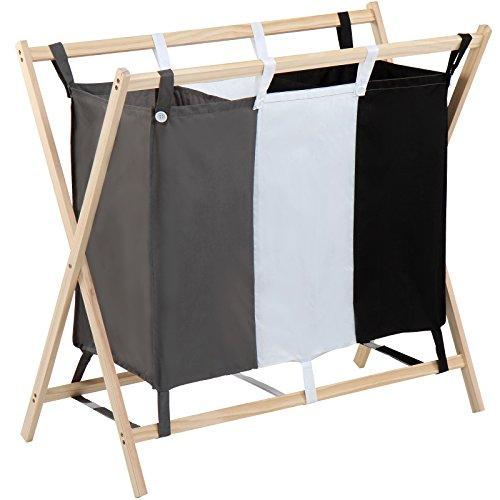 Jago cesto per biancheria | con 3 scomparti lavabili, in poliestere, capacità 120l, 85/43/81 cm, grigio/bianco/nero | portabiancheria, cesto per bucato, cesta da lavanderia