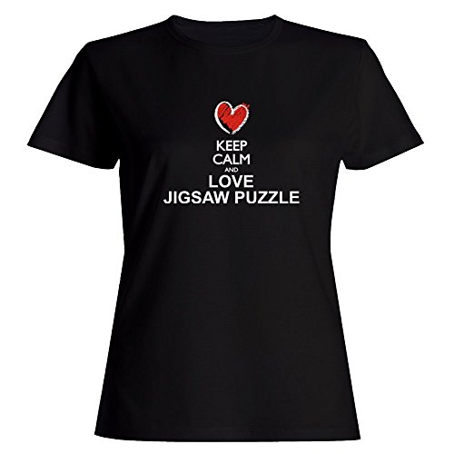 Idakoos Keep Calm and Love Jigsaw Puzzle Chalk Style - Ocio - Camiseta Mujer